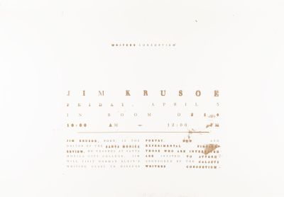 CalArts poster: Writers Consortium: Jim Krusoe by