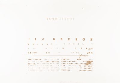 CalArts poster: Writers Consortium: Jim Krusoe by