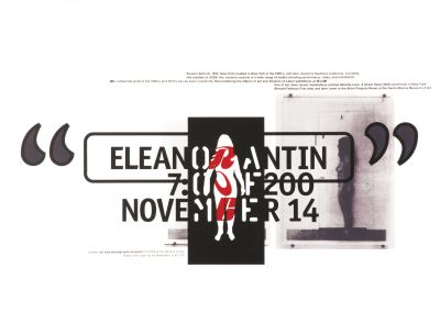 CalArts poster: Eleanor Antin by