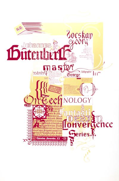 CalArts poster: Johannes Gutenberg: Fantastic Design Convergence Series by