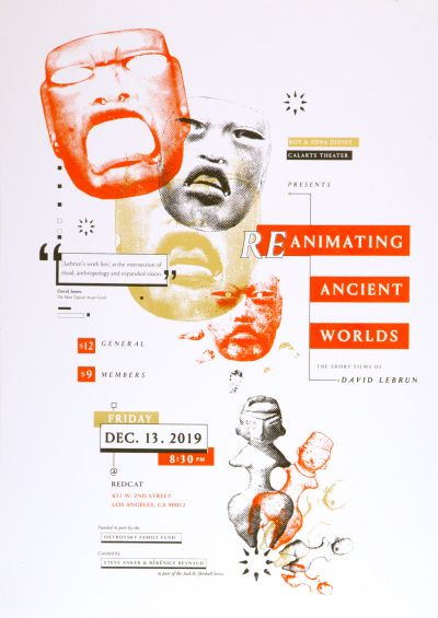 CalArts poster: Reanimating Ancient Worlds by Gian Montes