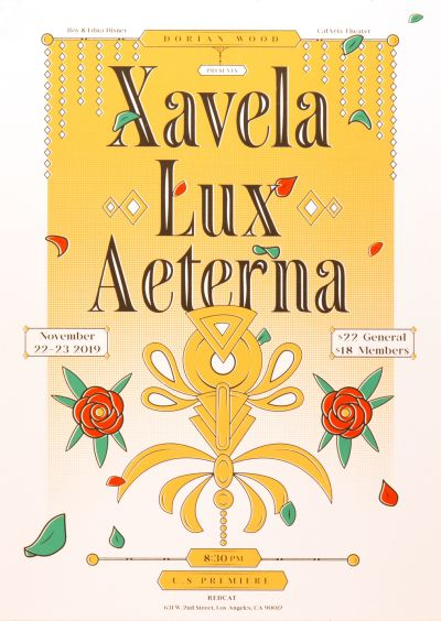 CalArts poster: Xavela Lux Aeterna by Gian Montes