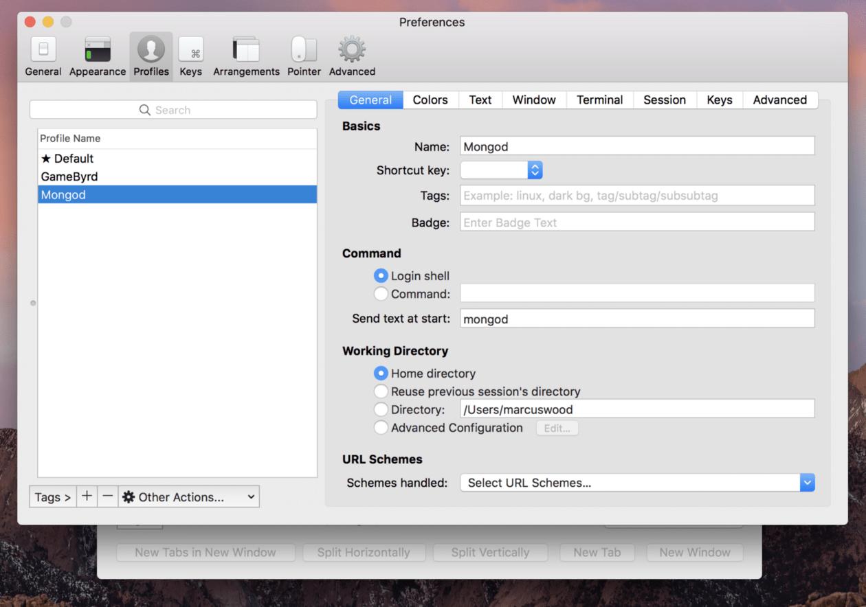 edit iterm profiles