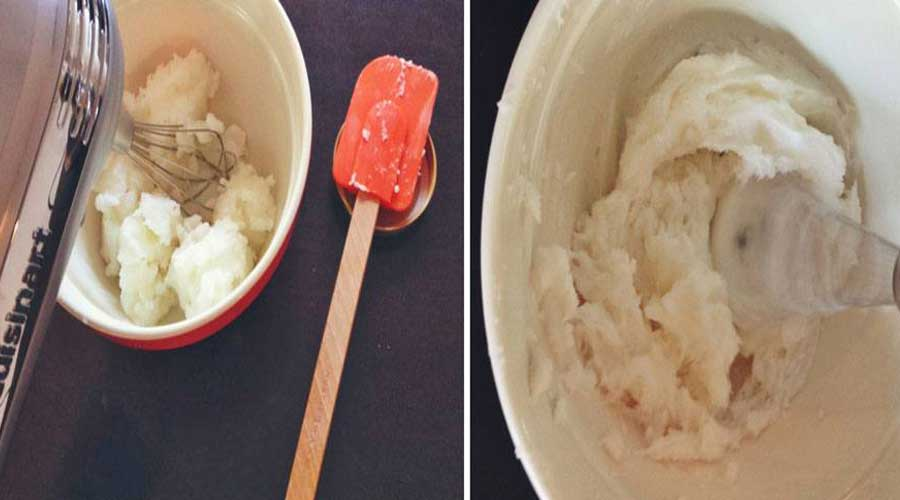 Beat the coconut oil for 1 minute on high, until smooth and fluffy. It should look a bit like whipped cream.