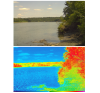 The images above depict a scene with normal image settings and the equivalent in NDVI mode