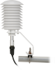 41003-5 horizontally mounted with plug and 083E-L Temperature and Relative Humidity Sensor (each sold separately)