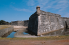 Castillo de San Marcos National Monument, St. Augustine, Florida. Taken in 1995, this view looks across the moat toward the southwest bastion, where several major cracks are visible.