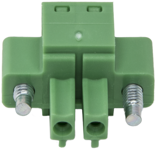 7843 Green 2-Pin Screw Terminal Plug Connector with Threaded Flange