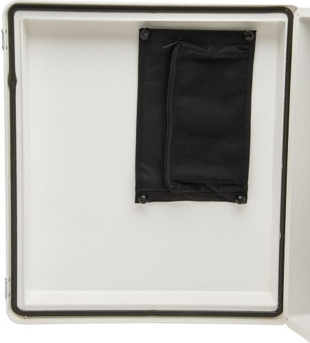 28701 Enclosure Desiccant and Document Holder Installed in Enclosure Lid