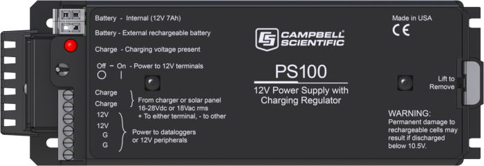 PS100: 12 V Power Supply with Charging Regulator and 7 Ah