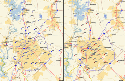 The left side is the rain-gage network, and the right side is the stream-gage network.