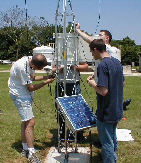 Installing a new DEOS station increases the area covered by the network, and allows graduate students at the University of Delaware to gain experience working with meteorological equipment in the field.