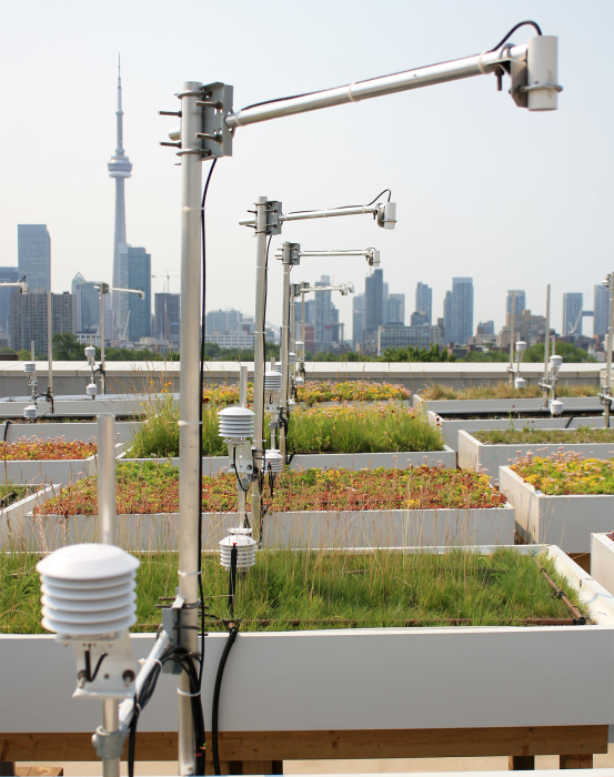 Weather stations collecting data on raised planter beds at the University of Toronto's GRIT Lab.