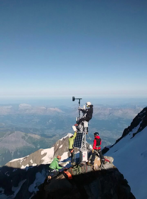 The weather station sits just below the peak of Mont Blanc, Europe's tallest mountain