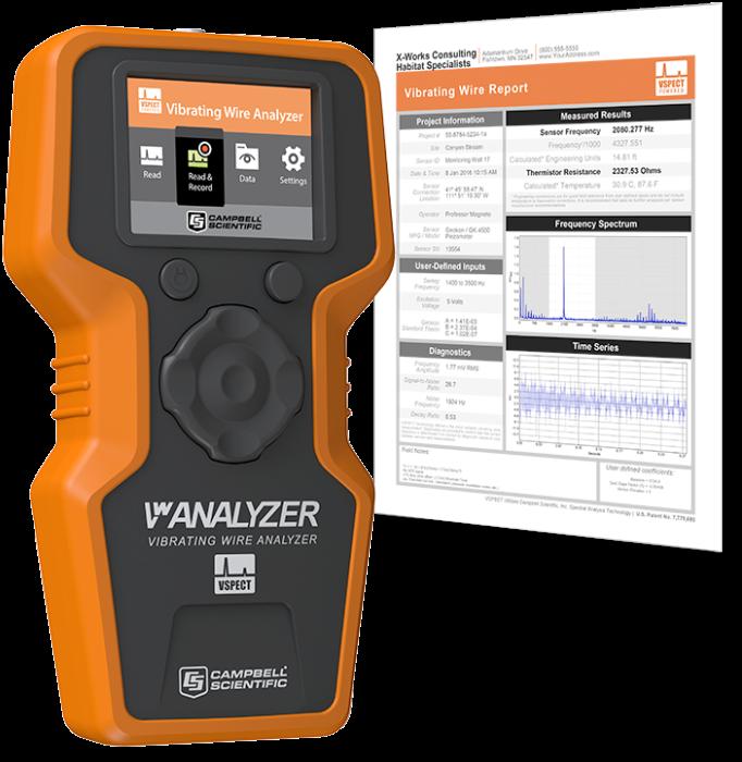 Analyseur portable pour corde vibrante avec rapport de mesures