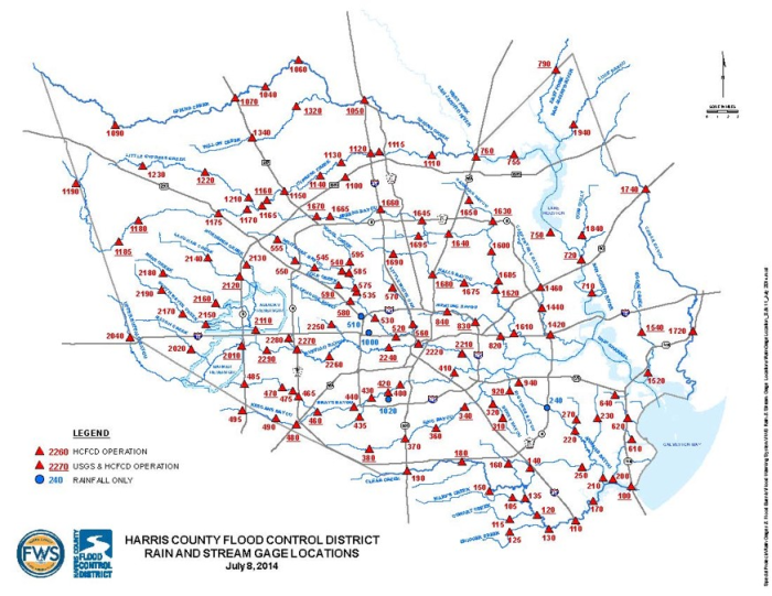 Map showing 139 Harris County ALERT/ALERT2 station locations