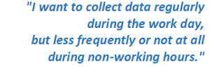 I want to collect data regularly during the work day, but less frequently or not at all during non-working hours.