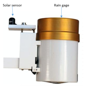 solar radiation sensor and tipping bucket rain gage