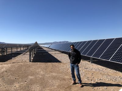 Matt Perry, Technical Product Manager for the Renewable Energy Group with a solar farm