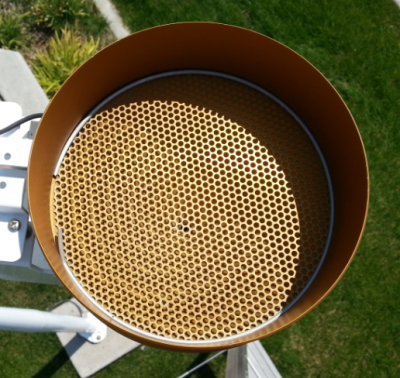 funnel of a tipping bucket rain gage