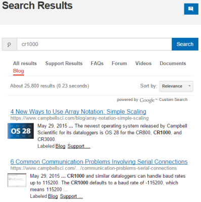 CR1000 search results with