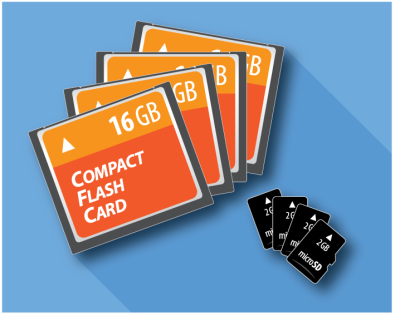 CompactFlash cards and microSD cards