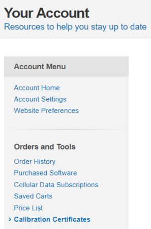 Account Menu on Your Account page