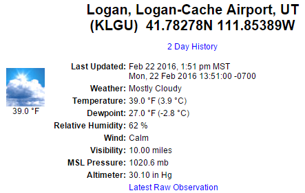 KLGU Airport weather data