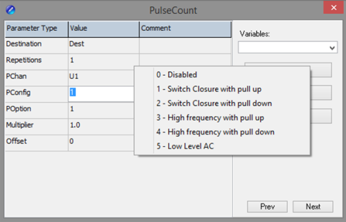 PulseCount() instruction with PConfig parameter options