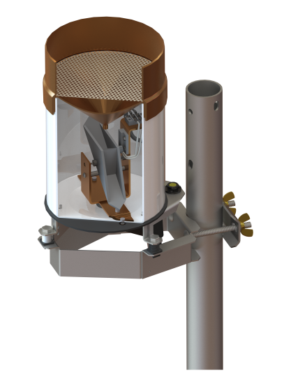 Cross-sectional image of a tipping bucket rain gage