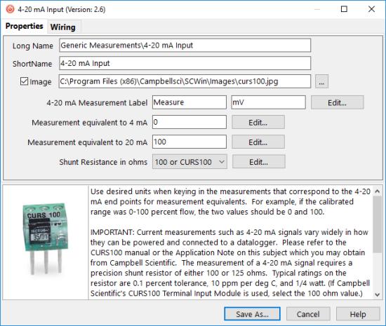 custom sensor dialog box