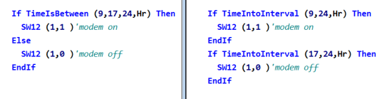 Program code examples for TimeIsBetween() and TimeIntoInterval() instructions
