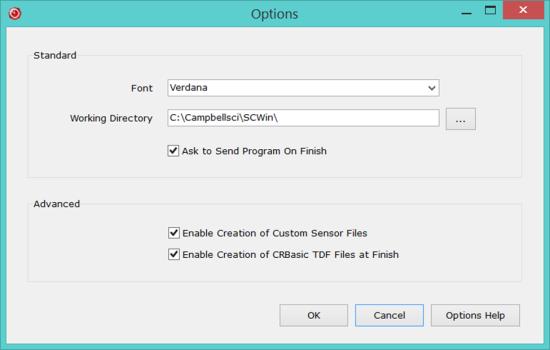 Options dialog box