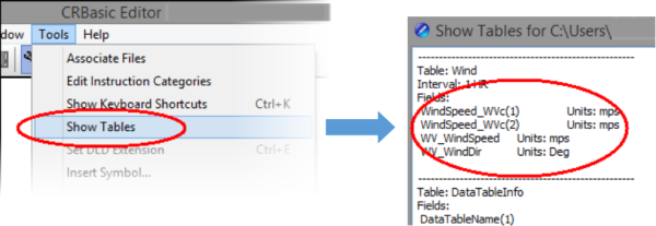 Show Tables menu item with defined field names