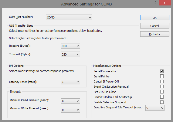 Advanced Settings with Latency Timer set to 1