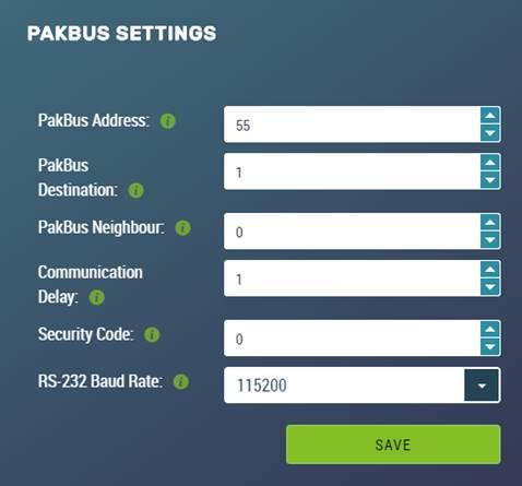 pakbus settings