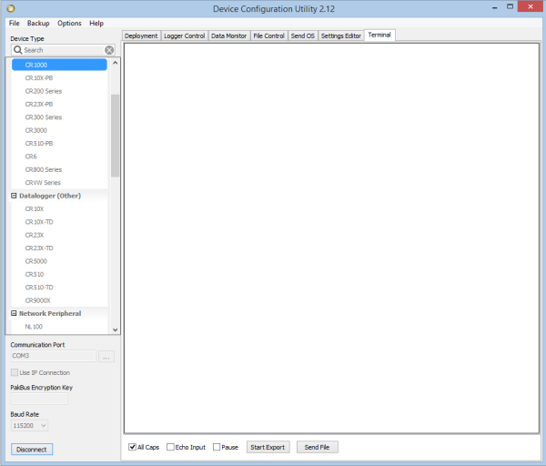 Terminal tab selected in DevConfig