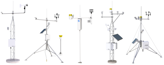 Five example automated weather stations