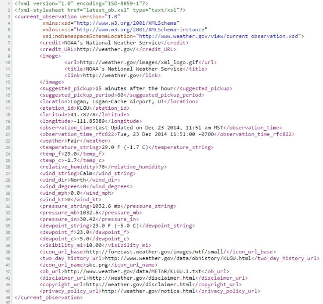 XML code from KLGU Airport weather data