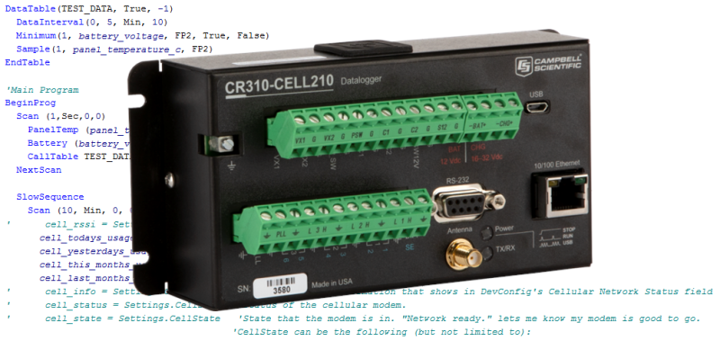 CR310-CELL210 datalogger with CRBasic code