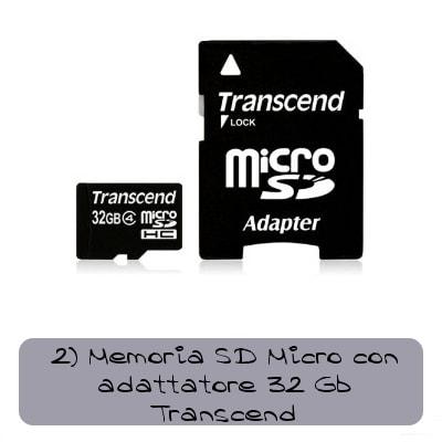 memoria micro sd transcend con adattatore 32 gb
