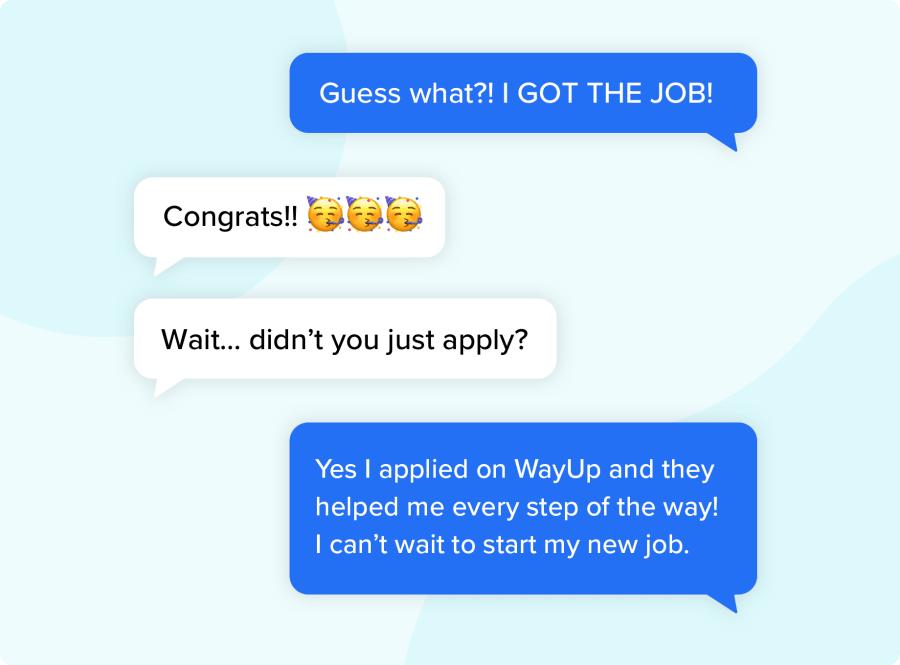 I got the job SMS conversation
