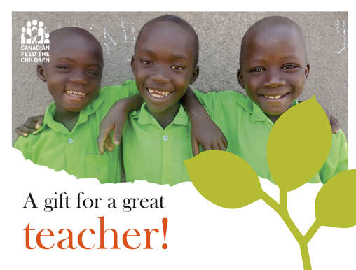 Buy a charity gift for your teacher and receive this free teacher-themed card