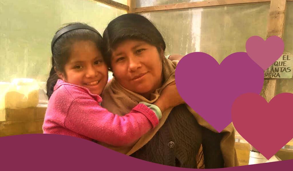 Luz hugs her mom Maria