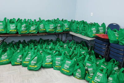 Recyclable shopping bags filled with groceries