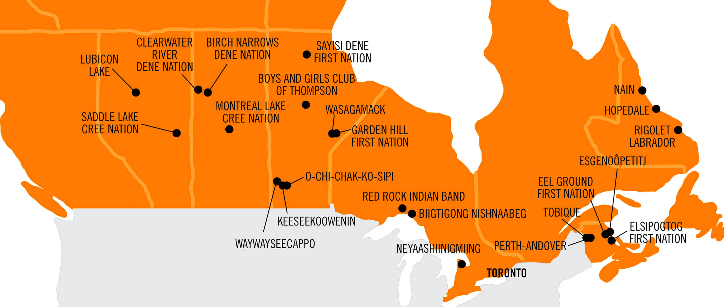 Map showing the location of CFTC's Indigenous partner communities