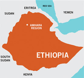 A map showing that the project is located in the Amhara region of Ethiopia
