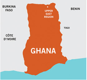 A map showing that the project is located in the Upper East Region of Ghana