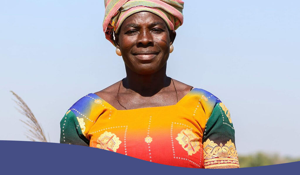 African woman smiles