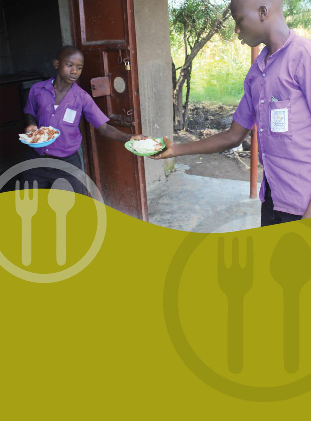 A Ugandan boy (Protas) hands out school meals to his classmates